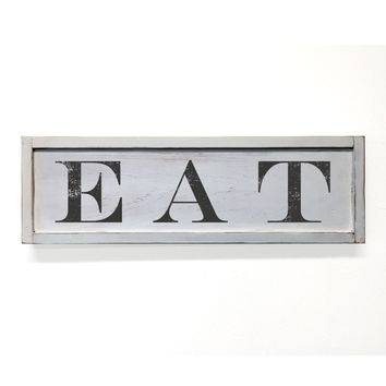 Eat Floater Frame Wall Art Sign White, 24x7