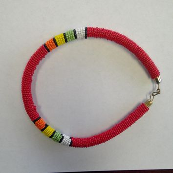Colorful African Beaded Tribal Necklace