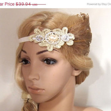 SALE 40% OFF Gatsby Headpiece, Gatsby Headband, gatsby hair clip, flapper headpiece, Flapper Hair Clip, Bridal Headpiece, Peacock fascinator
