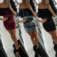 Women Solid Color Sexy Package Hip Dress