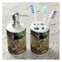 Toothbrush Holder and Soap Dispenser Set, Fall Foliage, Leaves - Bathroom Accessories Set, Guest Room, Wedding Gift-Made To Order - COA#02