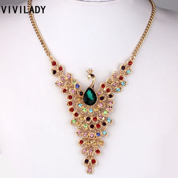 Gold Plated Crystal Peacock Pendants Necklaces