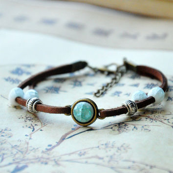 Ceramic Beads Bracelet Women Men Silver Charm Leather Chain Cuff Bangle Adjustable