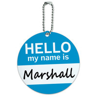Marshall Hello My Name Is Round ID Card Luggage Tag