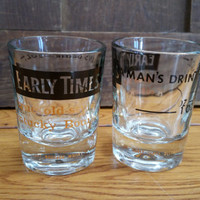 Vintage Early Times Whiskey Shot Glasses Federal Glass Set of 2