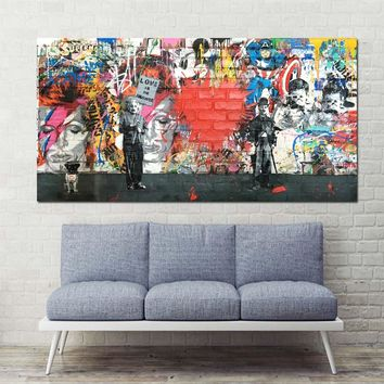 xdr413 Canvas Art Love Is The Answer Wall Art Graffiti Einstein Holding a Sign Colorful Canvas Printings for Living Room D
