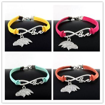 New Fashion Silver Baltimore Ravens Charm Pendant Infinity Love Leather Bracelet For Women Gift 10pcs/lot