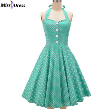 Women Summer  50s Vintage Dresses 2016 New Retro Audrey Hepburn Classic Party Robe Rockabilly 60s Halter Dot Dresses MIRESS