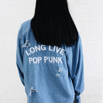 Long Live Pop Punk Destroyed Denim Shirt