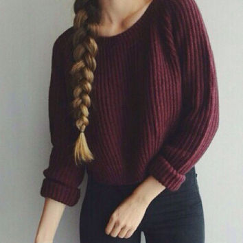 Women Pullovers Casual Crop Sweater