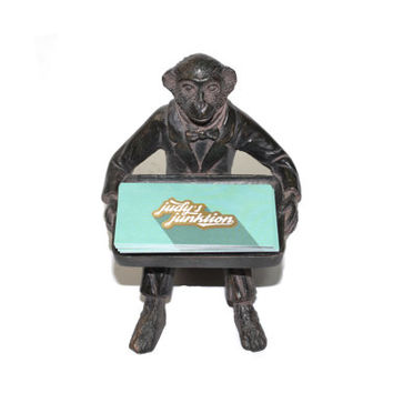 Vintage Monkey Business Card Holder Monkey Dish Monkey Candle Holder Monkey Butler Brass Monkey