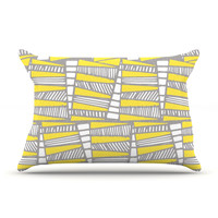 "Gill Eggleston ""Jaggi Yellow Grey"" Pillow Case"