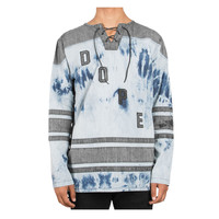 DOPE Bleached Denim Throwback Hockey Jersey In Distressed Denim