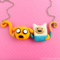 Jake and Finn Adventure Time Hugging Best Friends Necklace