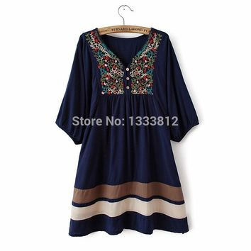 2019 Hot Sale Women Summer Embroidered Ethnic style stitching loose half sleeve female Cotton Long Blouse Free Shipping