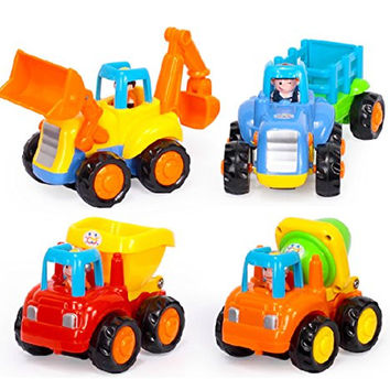 D-Mcark Early Educational Toddler Baby Toy Push and Go Friction Powered Car Toys Sets of 4 Tractor Bulldozer Mixer Truck and Dumper for Children Kids Boys and Girls 1 Year Old to 3 Year Old