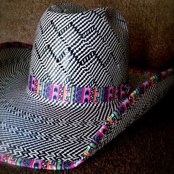 6d024a1092159 BLACK WHITE ZIG ZAG AZTEC AMERICAN HAT from Ranch Dress n