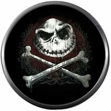 Skull And Cross Bones Spooky Jack Halloween Town Nightmare Before Christmas Jack Skellington 18MM - 20MM Charm for Snap Jewelry New Item