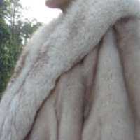 Rare Beauty Emba Natural Mink Pale Blue-Beige High End Quality Fur Cape Plush Silver FOX Collar-Size: Medium Excellent Cond- Weddings