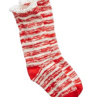 Aerie Women's Stripe Boot Socks (Holiday Red)