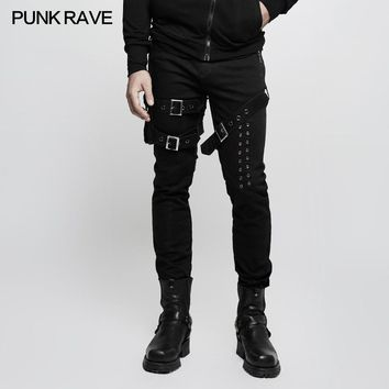 2017 New Punk Rave fashion Personality Retro Party Men Heavy metal style rock black Pants K295M