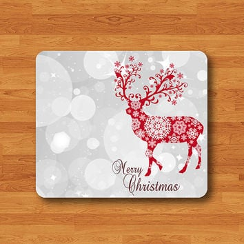 Merry Christmas Red Reindeer Giltter White Light Mouse Pad Mat Wood Pattern Help Desk Deco Rubber