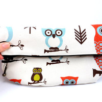 Cream and Brown Owl Foldover Clutch with Metallic Zipper, Cute Purse, For Her Under 20, Lined, On the Go