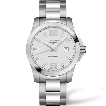 Longines Conquest Silver Dial Stainless Steel Quartz Mens Watch L36594766
