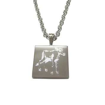 Silver Toned Etched Cow Calf Pendant Necklace