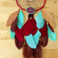 Dream Catcher - Modern - Bohemian - Tiffany Blue, Red - Button