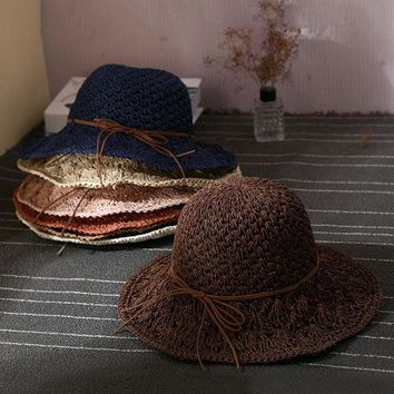 PEAP78W Newest Hot Stylish Women Ladies Wide Large Brim Cap Floppy Fold Summer Beach Sun Straw Beach Weave Hat