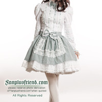 Cute Bunny Lolita Maid Apron Stripe 4pcs Outfit*3color Instant Shipping - fanplusfriend