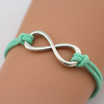 Antiqued Silver Karma Bracelet , Infinity Bracelet, Mint Green Leather Rope, Personalized Bridesmaid Jewelry, Unique Friendship Gift, Trends