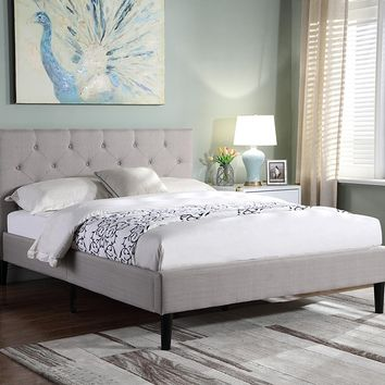 "New Century® Light Gray Linen Upholstered 35"" Headboard Platform Bed"