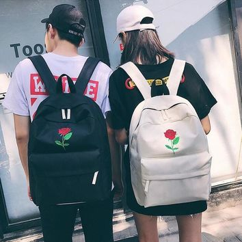 Men And Women Canvas Rose Flower Embroidery Cute Backpack Student Teenage Girls School Bags Travel Shoulder Bag Black Rucksack