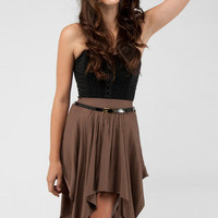 Looked High and Low Skirt in Mocha :: tobi