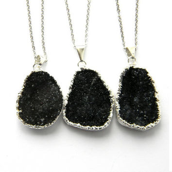 VALENTINE SALE - Black Amethyst Necklace - Black Amethyst Crystal Necklace - Amethyst Druzy Necklace - Amethyst Drusy Necklace - Silver Fill