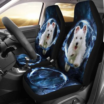 West Highland White Terrier On Blue Print Car Seat Covers- Free Shipping