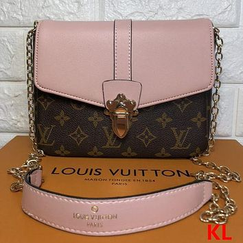 Louis Vuitton LV Women Fashion Chain Leather Crossbody Shoulder Bag Satchel