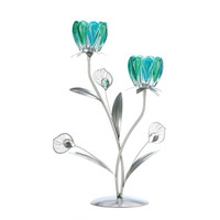 Peacock Bloom Candleholder - Double