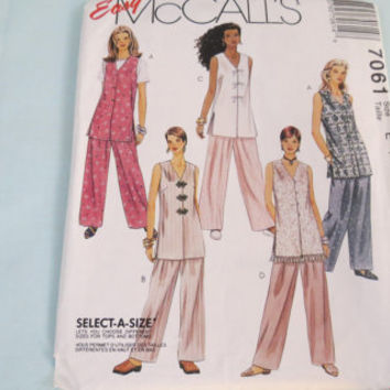 McCall's Easy select a size 7061 sewing pattern size 14 16 18 unlined vest and pants