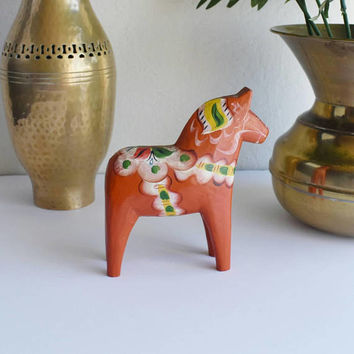 Vintage Swedish Orange Dala Horse Souvenir Swedish Folk Art Horse Vintage Swedish Souvenir Dalecarlian Horse Boho Home Cottage Home