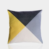 """Yellow and Gray A Pillow Cover 18' x 18"""""""