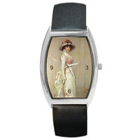 Women in Pink and White on a Barrel Watch w/ Leather Bands. Great Women's Gifts