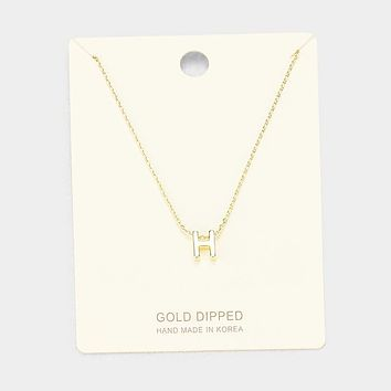 'H' Gold Dipped Metal Pendant Necklace