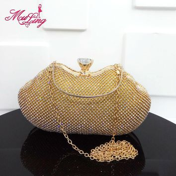 Luxury crystal brilliant jeweled diamond handbag fashion gold/silver/black design evening clutches bridal wedding party handbag