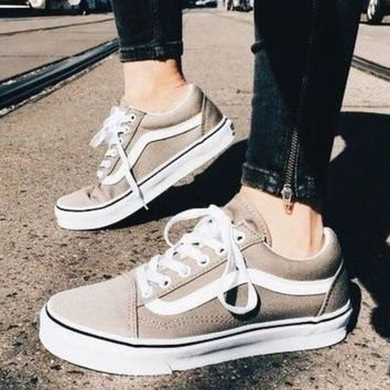 """Vans"" Old School More Color Casual Shoes Men and women classic black cloth shoes Grey"