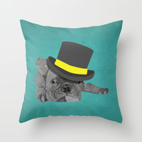Dapper Dog Throw Pillow by Olivia James