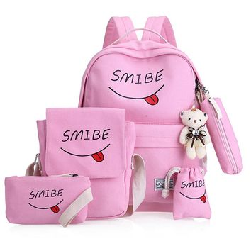 Women Canvas 6Set Backpack Printing Students Bookbag 5 Pcs School Bag Set For Youth Girls With Purse Bear Mochila shoulder bags