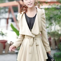 Wholesale Graceful Plunging Neck Solid Color Belted Long Puff Sleeves Coat For Women (APRICOT,S), Jackets & Coats - Rosewholesale.com